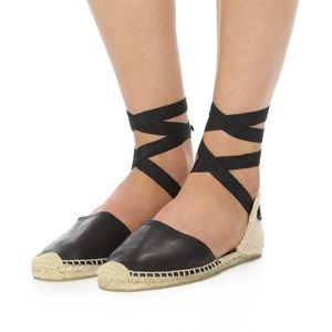 Soludos Black Leather Lace Up Espadrilles